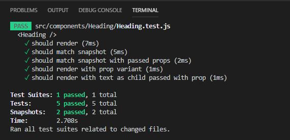 Wynik uruchomienia testów jednostkowych - npm test